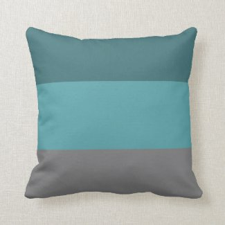 Teal, Grey Stripes Throw Pillow