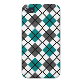 Teal, Grey, White and Black Argyle iPhone 4 Case