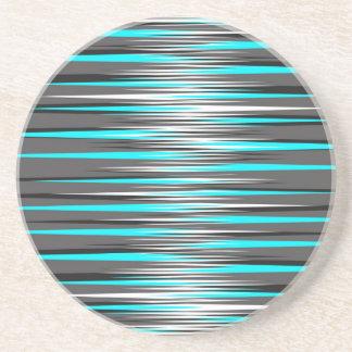 Teal, Grey, White, & Black Stripes Drink Coaster