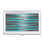 Teal, Grey, White, & Black Stripes Case For Business Cards