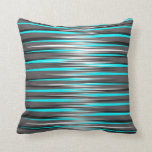 Teal, Grey, White, & Black Stripes Pillow