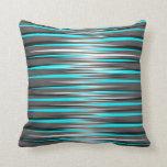 Teal, Grey, White, & Black Stripes Pillows