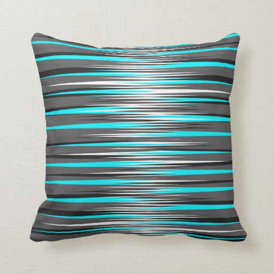 Teal Grey White Amp Black Stripes Throw Pillow Zazzle Com