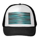 Teal, Grey, White, & Black Stripes Trucker Hats