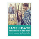"Teal Grid Photo Save The Date Announcements 5"" X 7"" Invitation Card"