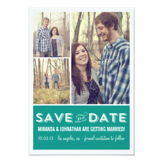 """Teal Grid Photo Save The Date Announcements 5"""" X 7"""" Invitation Card"""