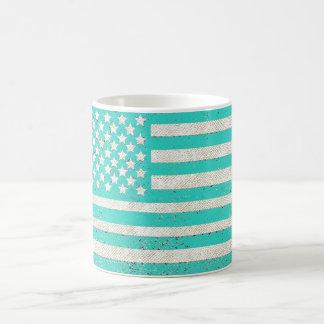 Teal grunge American flag Classic White Coffee Mug