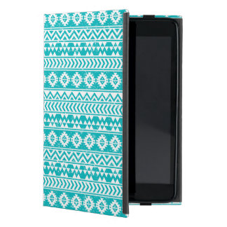 Teal Grunge Aztec Tribal Pattern Cover For iPad Mini