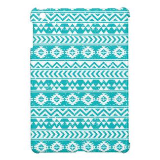 Teal Grunge Aztec Tribal Pattern iPad Mini Covers