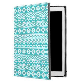 "Teal Grunge Aztec Tribal Pattern iPad Pro 12.9"" Case"
