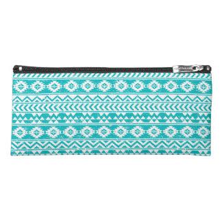Teal Grunge Aztec Tribal Pattern Pencil Case