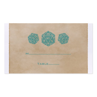 Teal Grunge D20 Dice Gamer Place Card Business Card