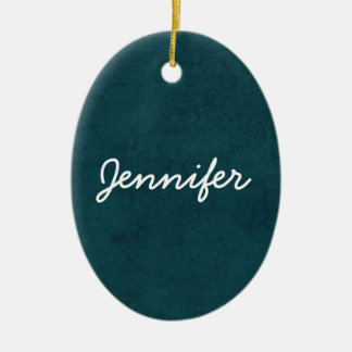 Teal Grunge Damask Custom White Name Oval Ceramic Ornament