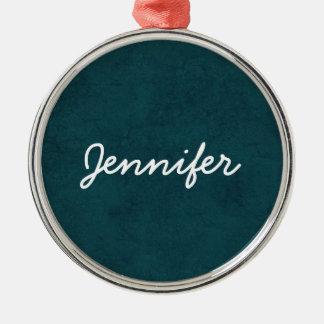 Teal Grunge Damask Custom White Name Round Premium Round Metal Christmas Ornament