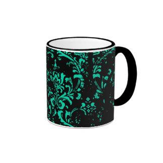 Teal Grunge Damask Ringer Coffee Mug