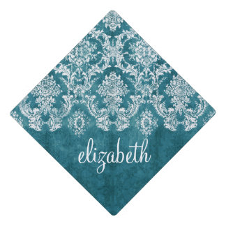 Teal Grunge Damask Pattern with Custom Text Graduation Cap Topper