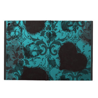Teal Grunge Damask Valentine iPad Air Cases