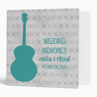 Teal Guitar Grunge Wedding Binder