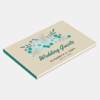 Teal Hand Drawn Flowers, Wedding Guest Book