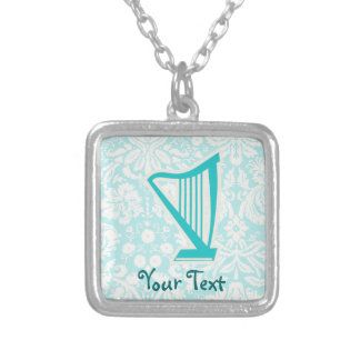 Teal Harp Personalized Necklace