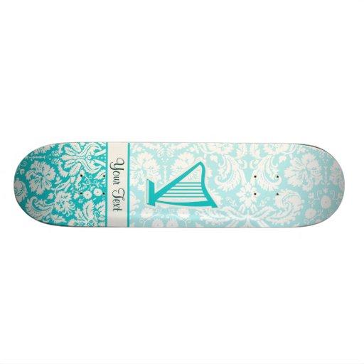 Teal Harp Skate Deck