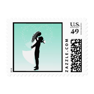 Teal Heart Bride And Groom Silhouette Postage Stamp