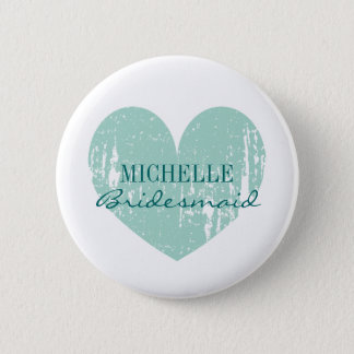 Teal heart bridesmaids buttons   Personalized name