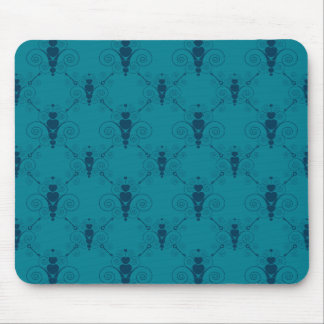 Teal Heart Damask Mouse Pad