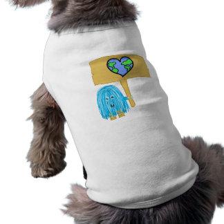 Teal heart earth doggie t-shirt