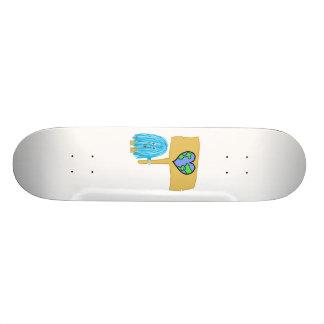 Teal heart earth skateboard deck