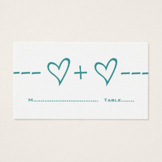 Teal Heart Equation Place Card