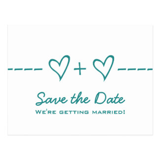 Teal Heart Equation Save the Date Postcard