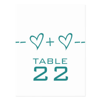 Teal Heart Equation Table Number Postcard