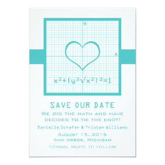 Teal Heart Math Graph Save the Date Invite