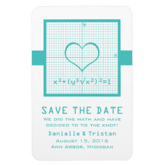 Teal Heart Math Graph Save the Date Magnet