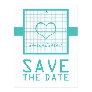 Teal Heart Math Graph Save the Date Postcard