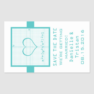 Teal Heart Math Graph Save the Date Stickers