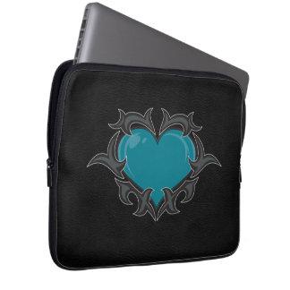 Teal Heart Neoprene Laptop Sleeve