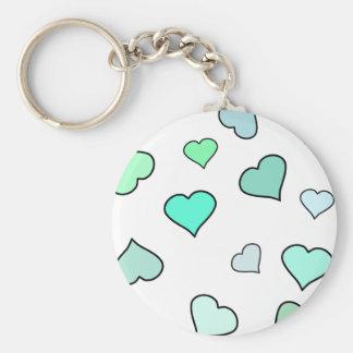Teal Heart Pattern Basic Round Button Keychain