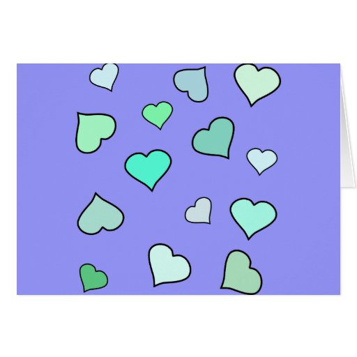 Teal Heart Pattern Greeting Card