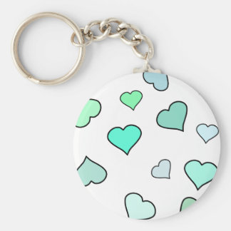 Teal Heart Pattern Key Chains