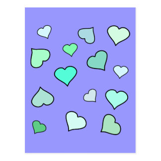 Teal Heart Pattern Post Card