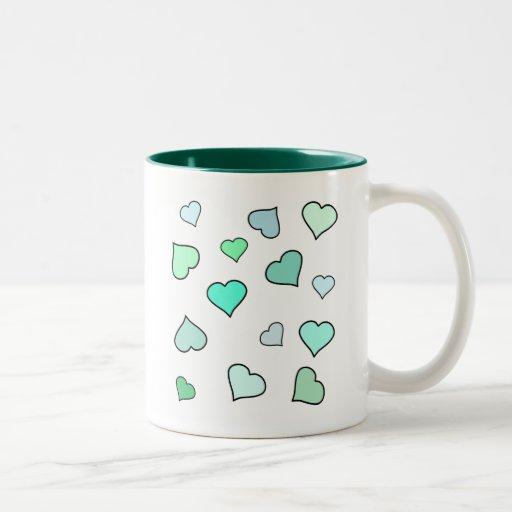 Teal Heart Pattern Two-Tone Coffee Mug