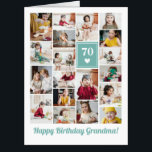 "Teal Heart Photo Collage Birthday Grandma Big Card<br><div class=""desc"">Wish grandma a happy birthday with this jumbo photo collage birthday card to which you can add 19 photos of the grand kids,  and grandmas age in big white letters against a light teal background with a white heart.</div>"