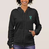 Teal Heart Ribbon (customizable) Hoodie