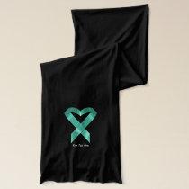 Teal Heart Ribbon (customizable) Scarf