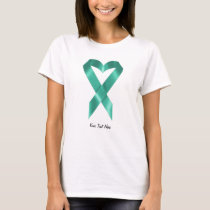 Teal Heart Ribbon (customizable) T-Shirt