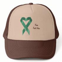 Teal Heart Ribbon (customizable) Trucker Hat