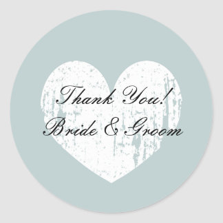 Teal heart wedding favor thank you stickers