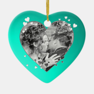 Teal Hearts and Ribbon Photo Double-Sided Heart Ceramic Christmas Ornament